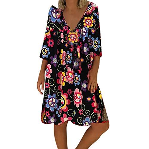 (NANTE Top Casual Loose Dress Ladies Print V-Neck 3/4 Sleeve Dresses Ladies Sundress Beachwear Women Party Skirt (XL, Black))
