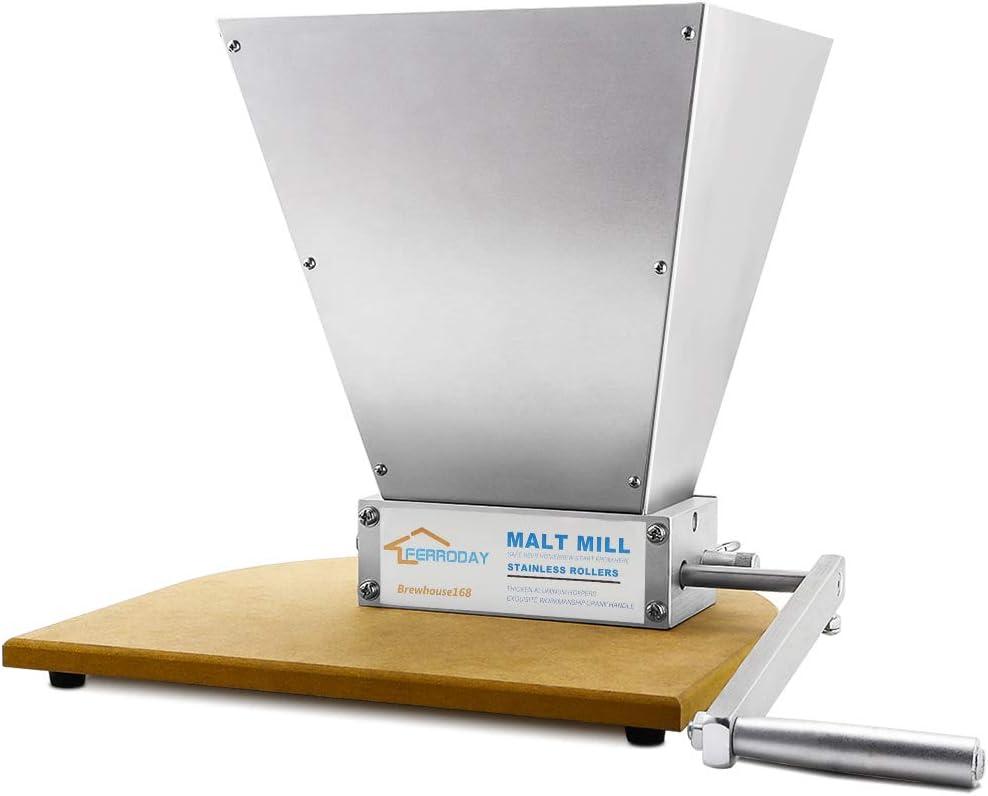 FERRODAY Malt Crusher Stainless Steel 2 Roller Malt Mill Homebrew Grain Crusher Manual Adjustable Barley Grinder With Wooden Base (medium)