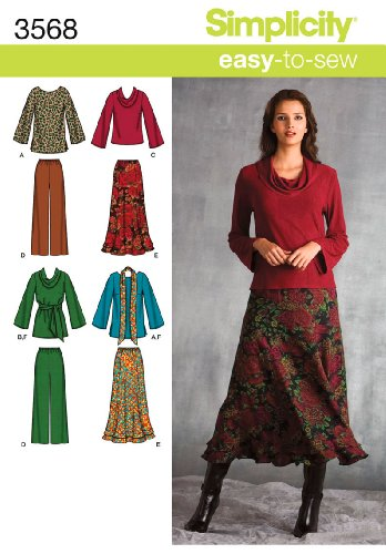 Simplicity Easy-to-Sew Pattern 3568 Women's Top in 2 Lengths, Pants, Skirt, Sash or Scarf Sizes 20W-28W