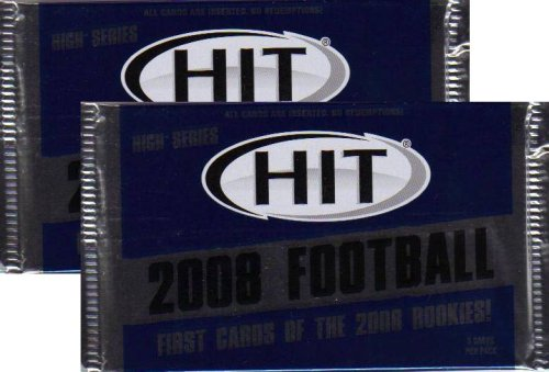 2 Pack Lot : 2008 Sage Hit Football (High Series) Factory Sealed Hobby Packs (6 Autographs Per Box) (No Redemptions) - Football Sports Trading Cards (2 Pack Lot - 5 Cards/Pack)