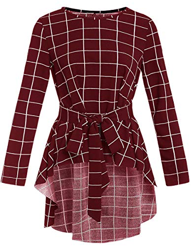 Romwe Women's Raw Hem Long Sleeve Check Print Belted Flare Peplum Blouse Shirts Top Burgundy L