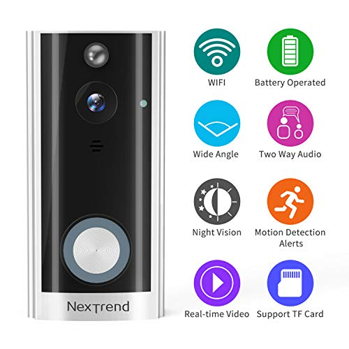 Doorbell Camera, NexTrend HD Smart Doorbell Battery Operated Wireless WiFi Doorbell Cam with Two Way Audio Night Vision PIR Motion Detection Support TF Card Remote View on Free APP -Silver ()