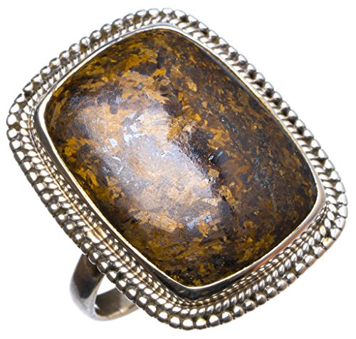 StarGems(tm) Natural Bronzite Handmade Unique 925 Sterling Silver Ring, US size 7.75 X2130 (Tm Stone Italian Ladies)