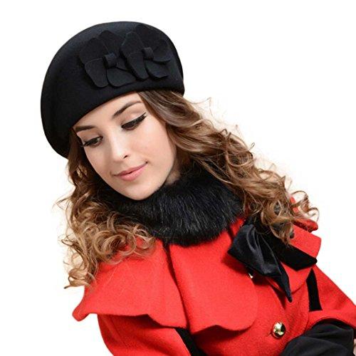 - Binmer(TM)Women Felt French Beret Beanie Felt Pillbox Hat 100% Wool Warm (Black)