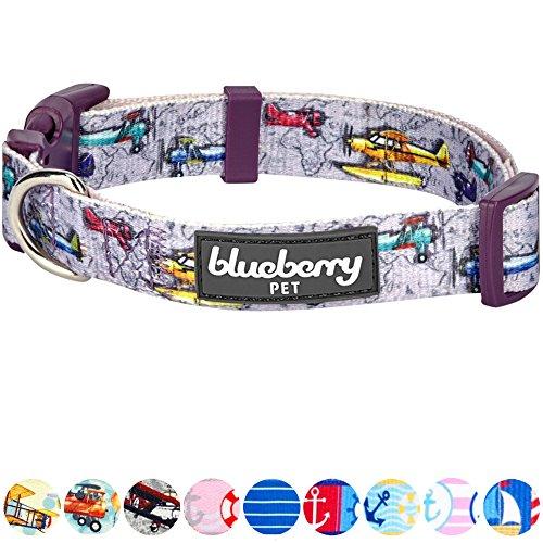 Nine Retro Light (Blueberry Pet 9 Patterns Aviation Dream High Retro Airplane Designer Dog Collar in Light Purple, Large, Neck 18