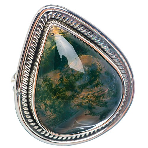 Large Green Moss Agate Ring Size 8 (925 Sterling Silver) - Handmade Boho Vintage Jewelry RING899947 ()
