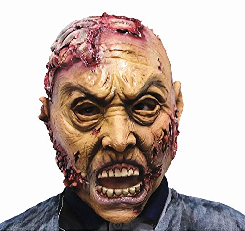 molezu Zombie Mask, Brains Adult Latex Mask, Halloween Novelty Full Over The Head Latex mask, Costume Party Cosplay Scary Horror mask ()