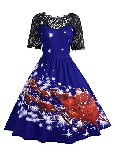 CharMma Women's Vintage Plus Size Christmas Short Sleeve Lace Panel Party Dress (4XL, Royal Blue) (Audrey Scalloped)