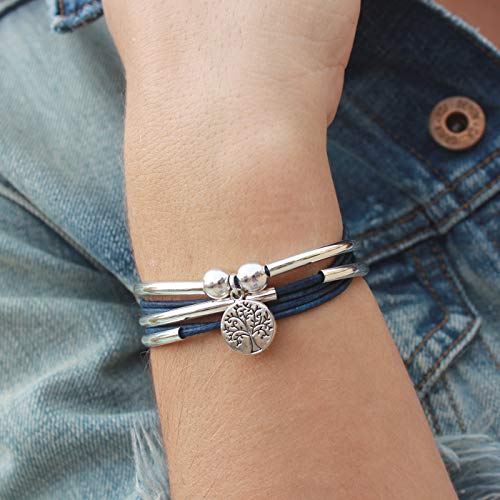 Lizzy James Girlfriend Silver Bracelet Necklace with Silver Tree of Life Charm in True Blue Leather (XLarge) by Lizzy James (Image #1)