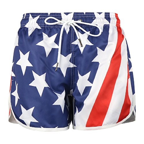 Nicelly Women's Beachwear Hawaiian Board Shorts Print Quick Dry Mini Shorts Hot Pants M AS1