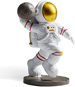 Astronaut Figurine Statue, Dunk Astronaut Figure Sculpture for Desktop & Tabletop Decor, Resin Spaceman & Planet Desk Ornament for Outer Space Themed Bedroom Decor