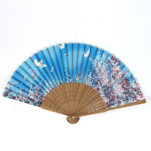 Fan Cerise Papillon Imprimé Bambou Ribs Pliable main Blue Lake DealMux DLM-B014IEOZZY