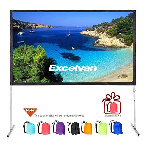 "Excelvan 120"" 4K Projector Screen with Stand Legs, Outdoor Indoor Portable HD 3D 16:9 Fast-Folding Video Screen, with Carry Bag and Air Inflation Sofa for Home Cinema Backyard Movie Projection"
