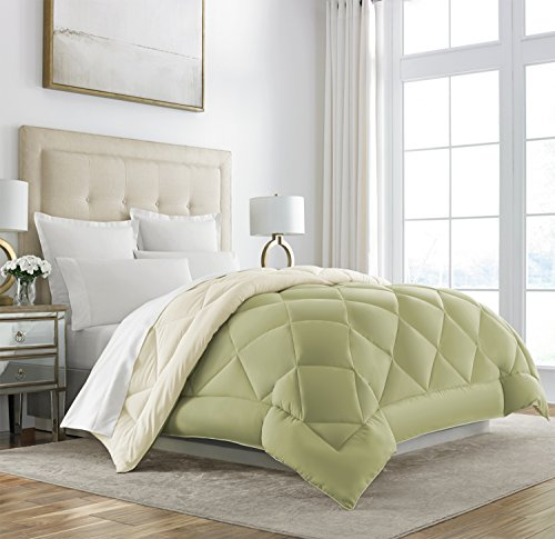 UPC 080119077339, Sleep Restoration Goose Down Alternative Comforter - Reversible - All Season Hotel Quality Luxury Hypoallergenic Comforter -King/Cal King - Sage/Ivory