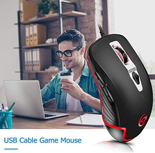 Semoic G818B Mouse Gaming Wired Mouse 3200 Dpi Adjustable Ergonomic Breathing Light Mice for Pubg LOL Dota2 Gaming Computer