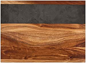 Rustic Farmhouse Acacia Wood and Slate Cheese Board by Twine – (17.7 x 10.2 x 1 in., comes with chalk)