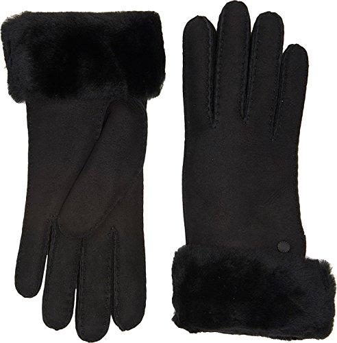 UGG Women's Classic Turn Cuff Waterproof Sheepskin Gloves Black MD