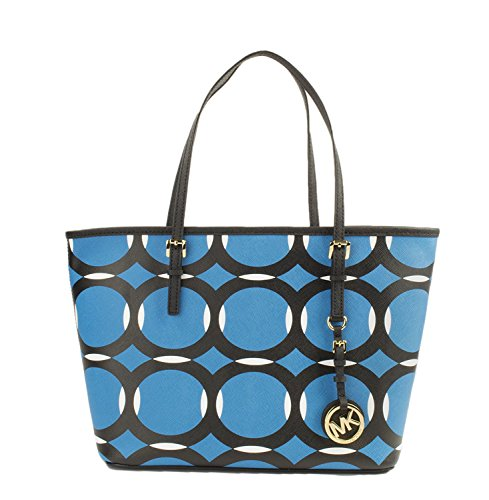 Michael Kors Small Jet Set Travel Deco Tote, Color Summer Blue/Black/White by Michael Kors