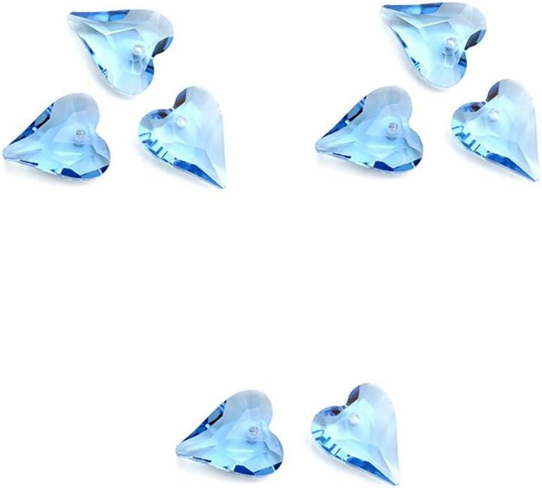 MoGist 8pcs Parche de diamantes en forma de corazón, Aplicación de diamantes de imitación de espalda plana Cuentas de cristal colgante Para hacer joyas de pulsera Vidrio Azul claro 2.1cm