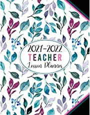 2021-2022 Teacher Lesson Planner: Academic Year Monthly and Weekly Class Organizer | Lesson Plan Grade and Record Books for Teachers July 2021-June 2022 (Pretty Girly Colorful Floral White Cover)