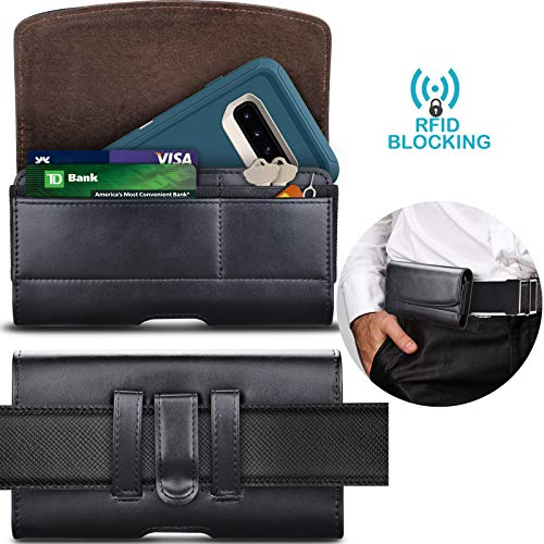 Tekcoo Phone Holster for Galaxy S8 S9 S10 S10e J7 J3 iPhone XR iPhone X LG G8 Moto G7 Leather Belt Clip Pouch Carrying Wallet Cover Card Holder Slots(Fits Otterbox Defender/Lifeproof Case on) Black