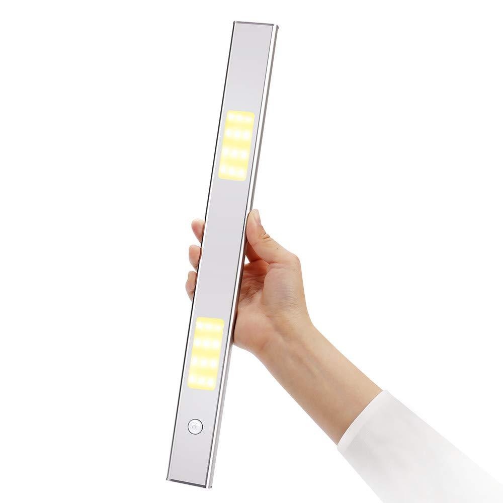 Senofun USB充電式モーションセンサー 取り外し可能LEDキャビネットライト 高級超薄型フルアルミニウムワイヤレス磁気クローゼットナイトライト キッチン ワードローブ用 Silver Bar Type CSL-WW B07N3ZGK6R ウォームホワイト Silver Bar Type