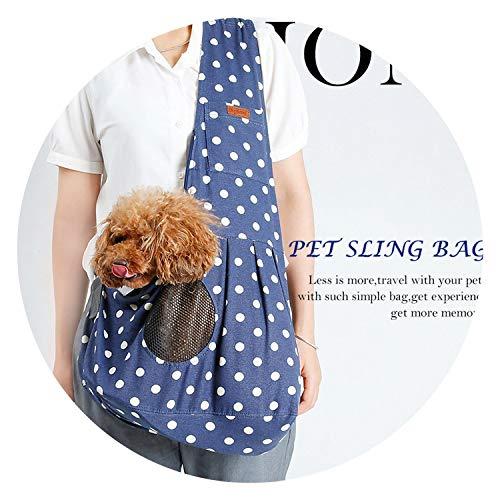 better-caress Sling on Breathable Canvas Dog Bag Bag Single Shoulder Bag for Dog Cat,Blue dot,M (Nyan Ca)