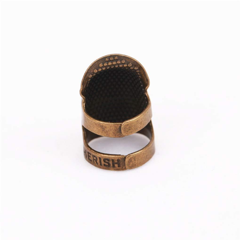 Kineca Dedal de la Vendimia Anillo de Costura Que acolcha de Cobre Cubierta del Dedo del Protector de Aguja Pulse Accesorios para Herramientas S