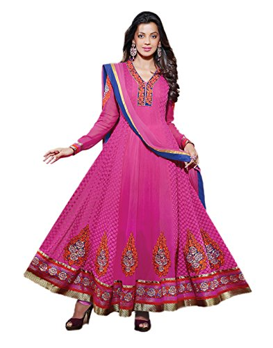 IndiWeaves Women Pure Bamber Embroidered Pink Anarkali