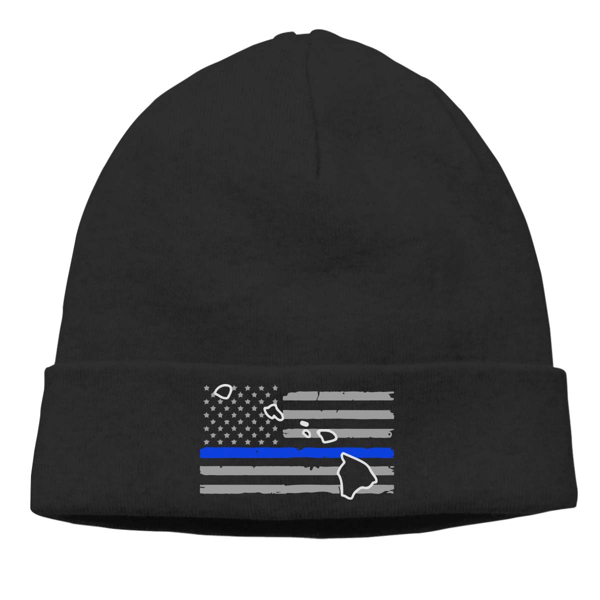 Thin Stretchy /& Soft Winter Cap Hawaii Thin Blue Line Flag Women Men Solid Color Beanie Hat
