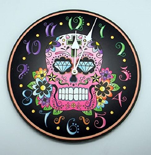 Pink Sugar Skull Mexican Day of the Dead Black Hanging Wall Clock