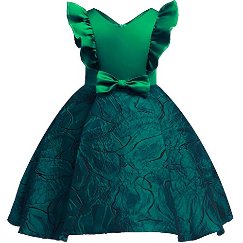 Girls Dress Backless Floral Flare Sleeve Bow Kids Dresses for Girls Princess Dress,Green1,9 -