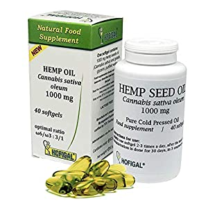 Hemp Seed Oil Supplements | Pure Cold Pressed Oil | 40 Soft Gel Capsules | 1000mg per Capsule | A Balanced Source of Omega 3 & 6 Rich in Fatty Acids |