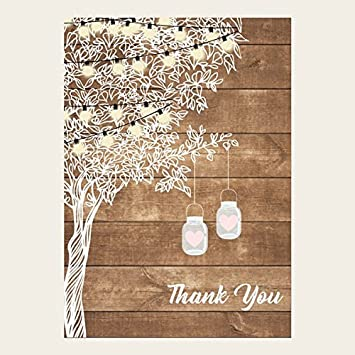 engagement thank you cards rustic festoon lights mason jars