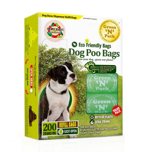 Green N Pack Dog-Waste Refill Bags, Compact Refill Packs, 200 Bags, 10 Rolls, More Bags and Less Waste, My Pet Supplies