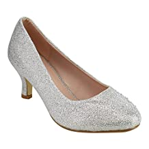 Beston DE25 Women's Glitter Slip On Kitten Heel Sparkling Clssic Dress Pumps