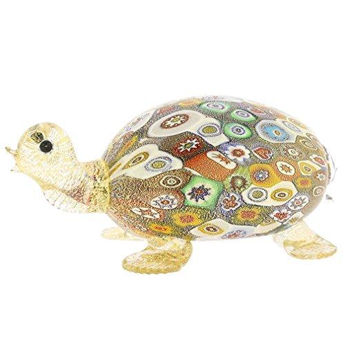 (GlassOfVenice Murano Glass Golden Quilt Millefiori Turtle )