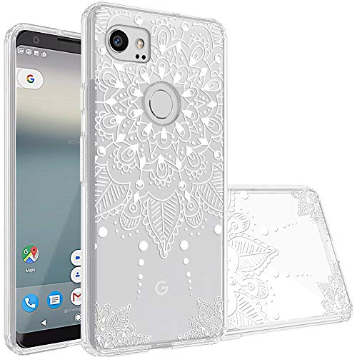 Topnow Google Pixel 2 XL Case, [Anti-Scratch PC + Shockproof Anti-Drop Soft TPU] Advanced Printing Pattern Phone Cases Glossy Drawing Design Cover for Google Pixel 2 XL(White Flower)