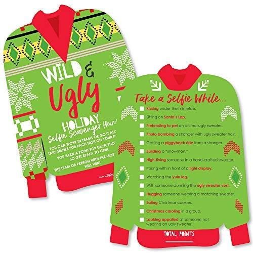 (Wild and Ugly Sweater Party - Selfie Scavenger Hunt - Holiday and Christmas Animals Party Game - Set of)
