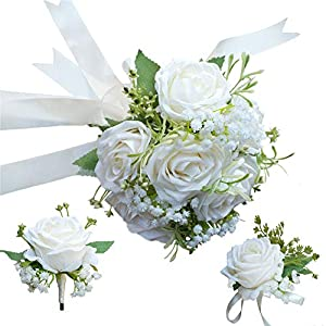 Bride Bouquet Wrist Corsage Groom Boutonniere Wedding Flower Party Decoration (Ivory Set) 40