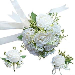 Bride Bouquet Wrist Corsage Groom Boutonniere Wedding Flower Party Decoration (Ivory Set)