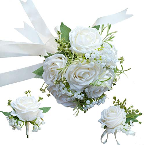 (Bride Bouquet Wrist Corsage Groom Boutonniere Wedding Flower Party Decoration (Ivory Set) )