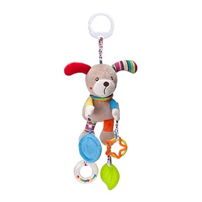 Baby Infant Pram Car Stroller Hanging Rattles Plush Toy Cartoon Plush Dog Shape Wind Chime with Teether Crinkle Squeaky Toy for Newborn Baby : Baby