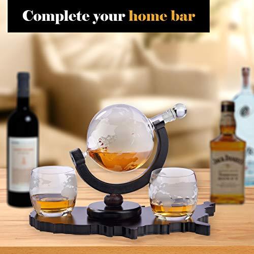 Whiskey Decanter Set World Etched Globe Decanter Airtight Stopper Antique Ship Liquor Dispenser Perfect Bar Gift Bourbon Scotch Vodka Liquor USA Map Tray 850 ml by Bezrat (Image #3)
