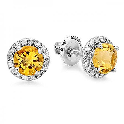 Citrine Diamond Earrings And (14K White Gold Round citrine & White Diamond Ladies Halo Style Stud Earrings)
