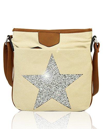 Redfox Big Sparkling Rhinestones Star Slim Canvas Vintage Messenger Women's Shoulder Bag Pearl