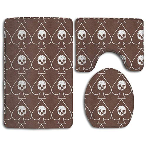 Non Slip Absorbent Water Bathroom Rug Toilet Sets, Ace of Spades Skull Bathroom Rugs Set Living Room Anti-Skid Pads Bath Mat + Contour + Toilet Lid Cover ()