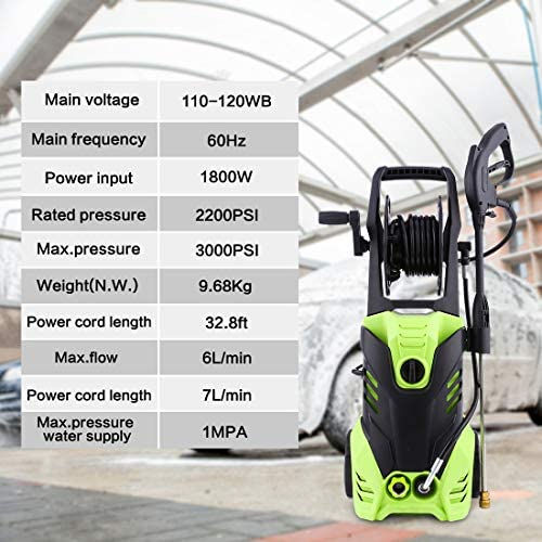 Homdox 3000PSI Electric Pressure Washer, Max Pressure 1.8GPM High Power Washer Reel Style Cleaner Machine with 1800W Rolling Wheels 5 Interchangeable Nozzles-Green