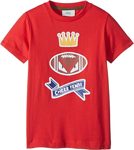 Fendi Kids Baby Boy's Short Sleeve 'Cheer Fendi' Football Graphic T-Shirt (Toddler) Red 4 Years by Fendi Kids