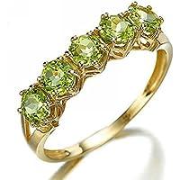 Wassana Jewelry Round Cut 18K Gold Filled Peridot Womens Engagement Ring Gift Size 6-10 (7)